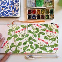 And finished! #floralpattern #pinkandgreen #watercolor #pattern #painting…