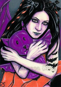 ORIGINAL ACEO ART Gothic Bats Halloween Cute Stuffed Animal Purple Orange Black #Realism