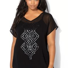Sequin Diamond Chiffon Blouse-Plus Size Blouse-Avenue