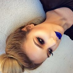Pinterest : @Lovelyy_Amber97 ❤️ Blue lips... not a fan but love the makeup still