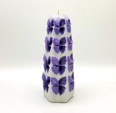 Decorative hand made white and purple carved candle, Home decor gift for her/him, Carved candle unique birthday gift idea by LittleCandleShop on Etsy