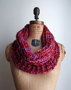 Chunky knit cowl  Red. Purple. Orange. Infinity by Happiknits, $61.00