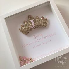 A stunning puffy glitter crown fit for a girl who loves to sparkle and shine Complete with pink printed text and border detail The initial of your Shadow Frame, Diy Shadow Box, Box Frame Art, Box Frames, Homemade Gifts, Diy Gifts, Glitter Pictures, Baby Frame, Heart Frame