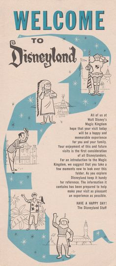 Disneyland Welcome Map and Guide from 1961  by StuckyEstateSale
