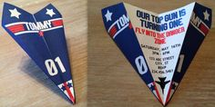 Custom Top Gun Themed Paper Airplane Invitation - Personalize Verbiage, Colors, Font & More! Perfect for Birthdays, Showers, Thank You's