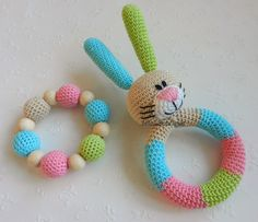 Bunny crocheted with love from 100% cotton yarn and stuffed with a polyester fiberfill and in the head there are jingle bells that rattle when you move the bunny. The bunnys eyes are also yarn, so...