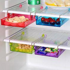 Multipurpose Fridge Storage Refrigerator Organizer Sliding Drawer Space Saver Shelf