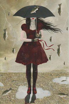 Freak Storm ( Fish Version) by Tanya Mayers Umbrella Art, Under My Umbrella, Illustrations, Illustration Art, Arte Black, Weird Fish, Big Fish, Rain Art, Parasols