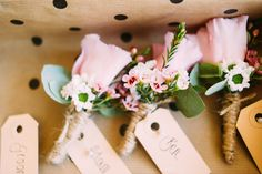 Lisianthus Buttonhole with pink Wax flowers