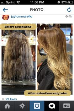 Ombre hair color and extensions.. before and after
