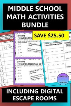 This middle school bundle contains 31 resources! From digital escape rooms, mazes, game show activities, School Resources, Math Resources, Math Activities, Math Games, Algebraic Expressions, Secondary Math, 8th Grade Math, Dividing Decimals, Scavenger Hunts