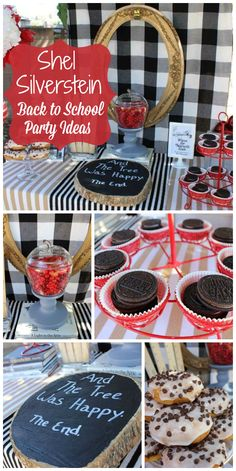 A Shel Silverstein themed back to school party with donuts and treats to celebrate the new school year! See more party planning ideas at CatchMyParty.com!