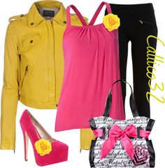 """""""Yellow leather jacket"""" by callico32 on Polyvore"""