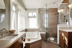wood looking porcelain tile in modern bathroom