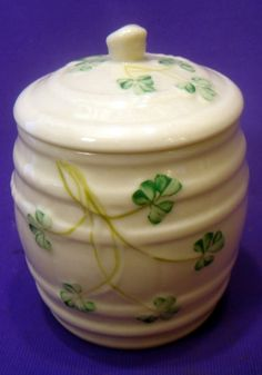 Irish Belleek Marmalade Condiment Jam Barrel & Lid by WahooBobs, $29.99