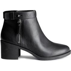 H&M Ankle boots ($24) ❤ liked on Polyvore featuring shoes, boots, ankle booties, sapatos, chaussures, heels, black, black heeled ankle booties, short boots y black booties