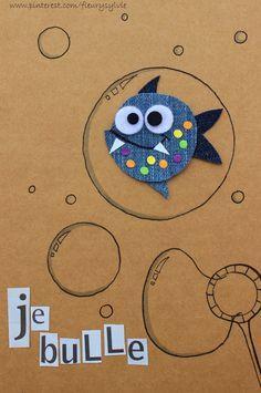 Make all kinds of fun shapes using Denim! Jean Crafts, Denim Crafts, Paper Crafts, Artisanats Denim, Denim Art, Fabric Cards, Fabric Postcards, Diy For Kids, Crafts For Kids