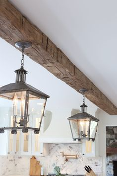 House Update: Real Antique Wood Ceiling Beam - All For Decoration Faux Ceiling Beams, Faux Wood Beams, Timber Beams, Wood Ceilings, Reclaimed Wood Mantel, Reclaimed Wood Kitchen, Wood Mantels, Mantles, How To Antique Wood