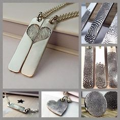 """Our """"Inked"""" collection is now available to order! And you don't need an impression kit for ANY of these designs, just a pencil, paper and a roll of sellotape! It really couldn't be easier! Click here to find out more and to order! http://www.notonthehighstreet.com/fingerprintjewellery"""