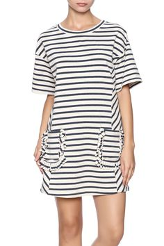 Navy striped sweater dress with pockets, short sleeves and a round neckline.    Striped Pocket Dress by Hayden Los Angeles. Clothing - Dresses - Casual Clothing - Dresses - Short Sleeve Clothing - Dresses - Printed Louisiana