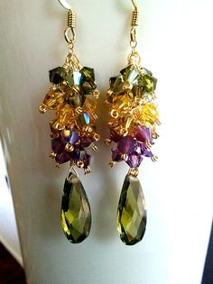 Spring Collection Olive Green Gold  Earrings by LaLaCrystal,