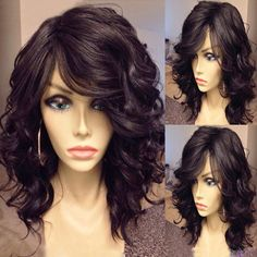 Stunning Medium Side Bang Synthetic Fluffy Black Curly Capless Wig For Women