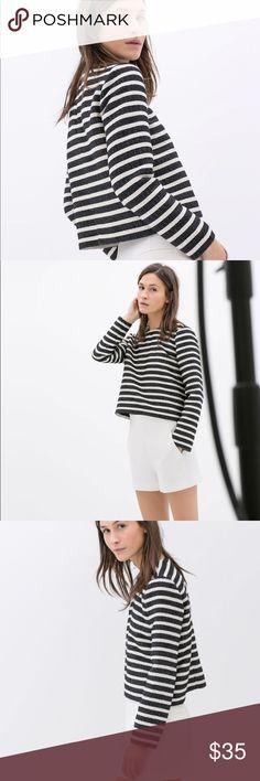 "Zara Striped Long Sleeve Crop Top Tweed-like Large Size Large; UA to UA 20"", length 19"" Zara Tops Crop Tops"