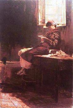 Interior com menina que lê, 1876-86 Henrique Bernardelli ( Brasil,  1858 – 1936) óleo sobre tela, 95 cm x 73 cm Museu de Arte de São Paulo
