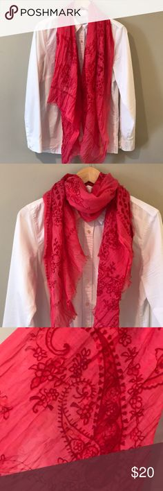 {Banana Republic} Oversized Scarf NWOT! Beautiful bright pink scarf with a large paisley print. Light, with soft frayed edges. From a smoke free home. Banana Republic Accessories Scarves & Wraps