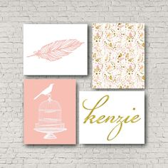 Feather Picture Personalized print baby girl Nursery by EllowDee
