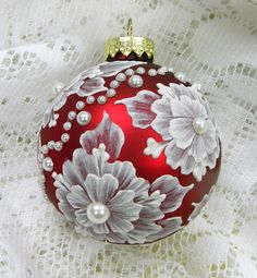 Red Hand Painted Floral MUD Ornament with by MargotTheMUDLady