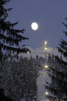 Winter Moon over Alyeska Ski Slopes - Girdwood, Alaska --- by Ray Hafen Beautiful Moon, Beautiful World, Beautiful Places, Girdwood Alaska, North To Alaska, Espanto, Winter Moon, Shoot The Moon, Moon Shadow