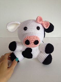 Crochet Girl Cow Amigurumi Stuffed Animal Toy Doll Black and White Pink Bow. $36.50, via Etsy.