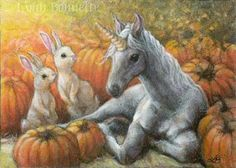 "October Unicorn ""Two curious bunnies discover a new Unicorn with a golden horn resting in the October pumpkin patch. This Unicorn must be very special indeed. Party Unicorn, Diy Unicorn, Unicorn Horse, Magical Unicorn, Fantasy Unicorn, Unicorn And Fairies, Fantasy Art, Magical Creatures, Fantasy Creatures"