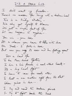 Its a Hard Life Lyrics -Freddie Mercury hand-written lyrics queen Photo