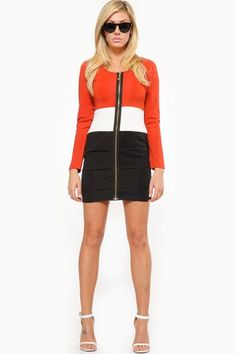 Long Sleeve Orange Horizon Zipper Detail Dress