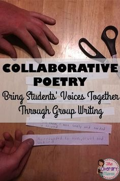 KQ 7 Incorporate opportunities for collaborative writing in your classroom by using collaborative poetry. Students will first write individually from a character's perspective and then work together as a group to create a communal piece of writing. Writing Classes, Writing Lessons, Writing Workshop, Writing Notebook, Writing Strategies, Writing Resources, Poetry Unit, Writing Poetry, Writing Art