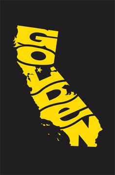 "POWERSLIDE DESIGN CO. GOLDEN: California Print  12.5""X19"" 1 color screenprint on Mohawk black paper - out of 50"