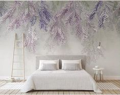 Custom Mural Wallpaper European Style Stereoscopic Purple Fruits Wallpaper, F… Custom Mural Wallpaper European Style Stereoscopic Purple Fruits Wallpaper, Fresh Hanging Purple Rattan Cane Wall Murals Fotos Wallpaper, Custom Wallpaper, Wall Wallpaper, Bedroom Themes, Living Room Bedroom, Bedroom Wall, Living Room Decor, Art Mur, Smooth Walls
