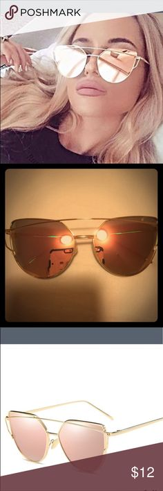 Gold and pink mirror cat eyed sunglasses & pouch Gold frame, Rose gold mirror lens cat eyed sunglasses brand new! Come with a pouch to protect your glasses! Online order so No tags... ships fast!  Product Type: Glasses   Material: AC, metal   Visible light perspective: 99 (%)   UV level: UV400 Accessories Glasses