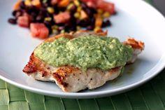 Chicken with Creamy Green Chile-Tomatillo-Avocado Sauce