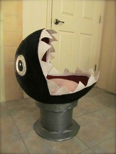 DIY: Super Mario Bros. Chain Chomp Scoop Chair (I'd paint the warp pipe green!) Piranha plant scoop chair tutorial too!
