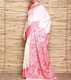 Off White Handloom Pure Silk Saree With Madhubani Kohbar Painting