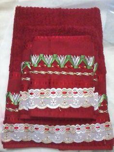 Jogo de toalhas com trançado em fita
