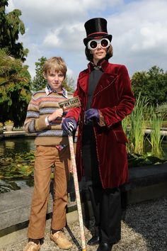 Willy Wonka and Charlie Bucket.  (costumes made by Fairy-Tailor)