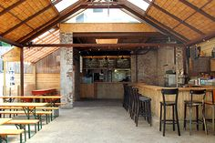 11 NYC Bars Perfect For Summer Fridays #refinery29  http://www.refinery29.com/best-bars#slide3  The Woods  This Williamsburg staple has upped its game in a big way, partnering with Smorgasburg-favorite (and proprietor of those crunchy, grilled maple bacon sticks) Landhaus to launch an outpost on its patio. What does that mean for you? The outdoor bar serving tiki drinks — including Ginger Mai Tais and Frozen Spiked Arnold Palmers. Happy hour runs from 4 to 8 p.m. and includes $3 Yuengling…