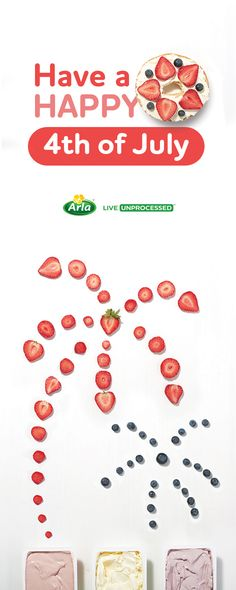 Unprocess your Fourth of July with the simple ingredients in Arla Strawberry, Original and Blueberry cream cheese. Cream Cheese Spreads, Happy 4 Of July, Easy Snacks, Holidays And Events, Fourth Of July, Memorial Day, Art For Kids, Smoothies, Teacher Summer