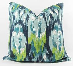 Blue Pillow Covers for Pillows, Blue Ikat Pillow Cover, Blue Decorative Pillow Cover, Blue Pi Green Pillow Covers, Green Pillows, Ikat Pillows, Gold Pillows, Blue Throw Pillows, Cushions, Cushion Covers, Accent Pillows, White Decorative Pillows