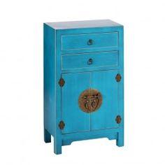 Mueble Chino Auxiliar Azul Oriente 2 Cajones