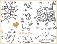 Cute kitchen embroidery designs